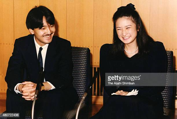 Prince Fumihito and Kiko Kawashima attend a press conference announcing their engagement at Akasaka Palace on September 12 1989 in Tokyo Japan
