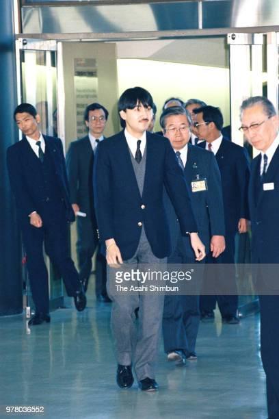 Prince Fumihito is seen on arrival at Narita International Airport on December 28 1988 in Narita Chiba Japan