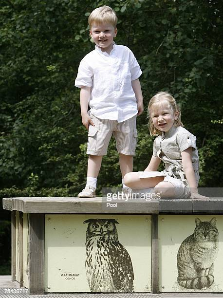 Prince Gabriel and Princess Elisabeth of Belgium walk in park Chlrophylle on July 16 in Dochamps Belgium