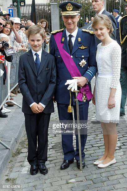Prince Gabriel Crown Princess Elisabeth and King Philippe of Belgium greet locals after Te Deum Mass on July 21 2016 in Brussels Belgium