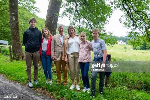 Prince Gabriel, Crown Princess Elisabeth, King Philippe of Belgium, Queen Mathilde of Belgium, Princess Eleonore and Prince Emmanuel during a visit...