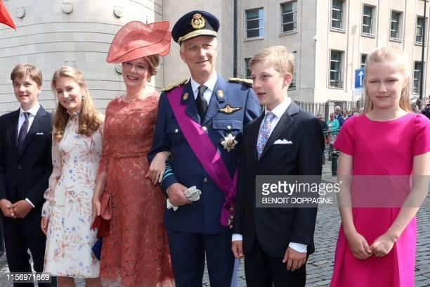 Prince Gabriel, Crown Princess Elisabeth, Queen Mathilde of Belgium, King Philippe - Filip of Belgium, Prince Emmanuel and Princess Eleonore pose...