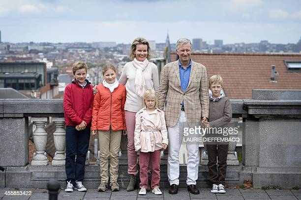 Prince Gabriel Crown Princess Elisabeth Queen Mathilde of Belgium Princess Eleonore King Philippe Filip of Belgium and Prince Emmanuel pose for a...