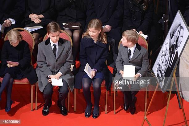 Prince Gabriel during the funeral of Queen Fabiola of Belgium is held at Notre Dame Church on December 12, 2014 in Laeken, Belgium.