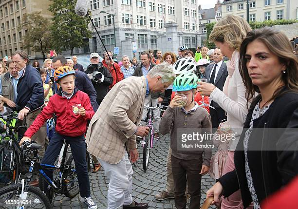 Prince Gabriel King Philippe and Prince Emmanuel of Belgium attend the Car Free Day in Brussels on September 21 2014 in Brussels Belgium