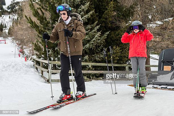 Prince Gabriel of Belgium and King Philippe of Belgium ski during their family skiing holiday on February 08 2016 in Verbier Switzerland