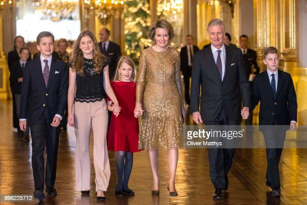 Prince Gabriel of Belgium Princess Elisabeth of Belgium Princess Elonore of Belgium Queen Mathilde of Belgium King Philippe of Belgium and Prince...