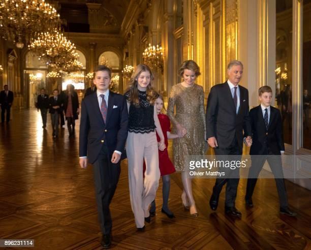 Prince Gabriel of Belgium Princess Elisabeth of Belgium Princess Elonore of Belgium Queen Mathilde of Belgium King Philippe of Belgium and Prince...