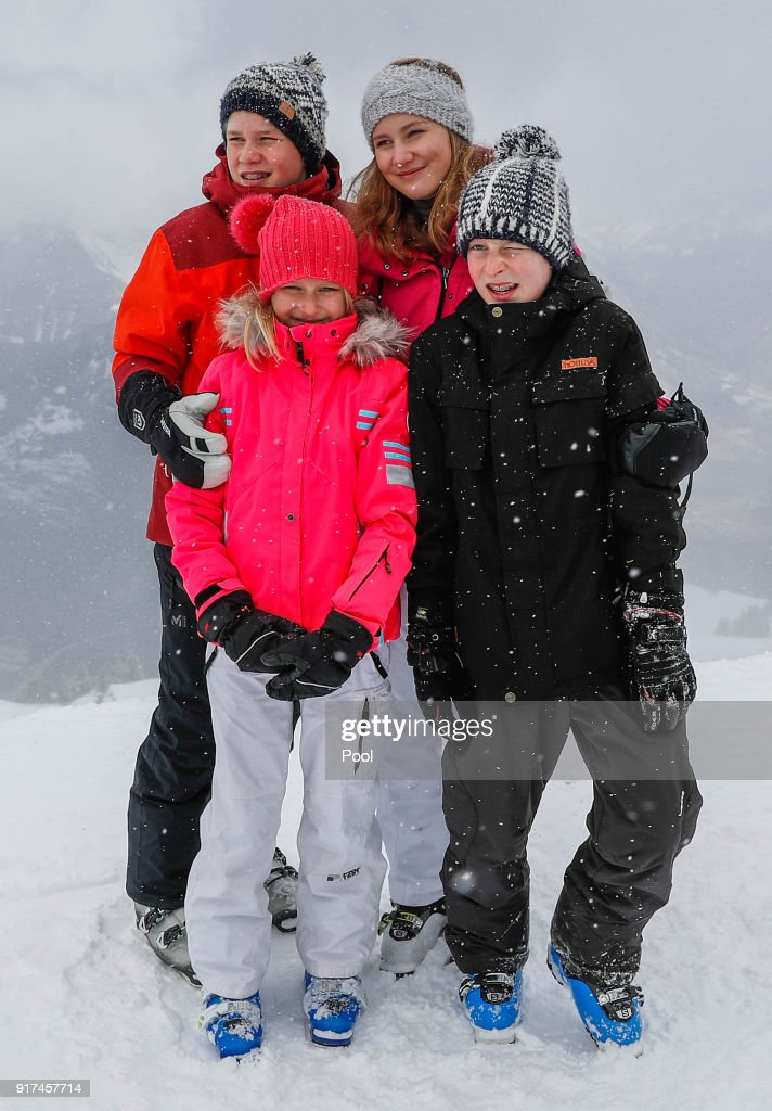 King Philippe and Queen Mathilde of Belgium on Family Skiing Holiday In Verbier : News Photo