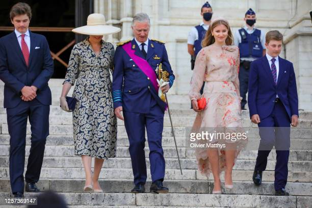 Prince Gabriel of Belgium Queen Mathilde of Belgium King Philippe of Belgium and Princess Elisabeth of Belgium attend the Te Deum which takes place...