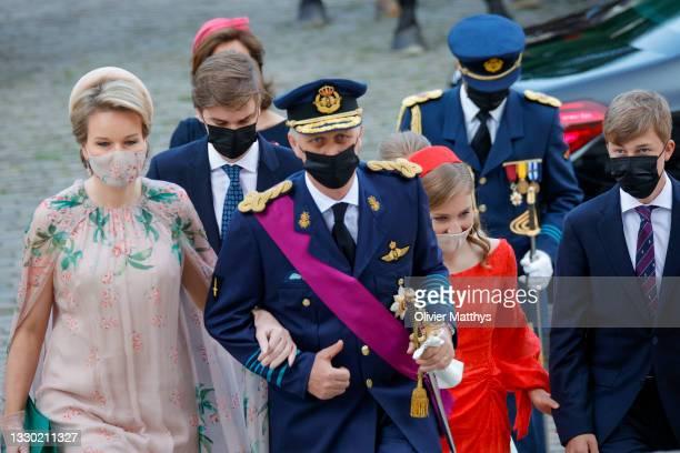 Prince Gabriel of Belgium, Queen Mathilde of Belgium, King Philippe of Belgium, Prince Emmanuel of Belgium and Princess Elisabeth of Belgium attend...