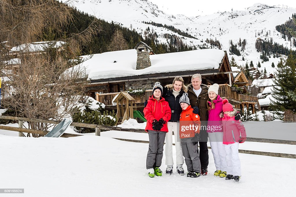Prince Gabriel of Belgium, Queen Mathilde of Belgium, Prince Emmanuel of Belgium, King Philippe of Belgium, Princess Elisabeth, Duchess of Brabant and Princess Eléonore of Belgium pose for photographs during their family skiing holiday on February 08, 2016 in Verbier, Switzerland.
