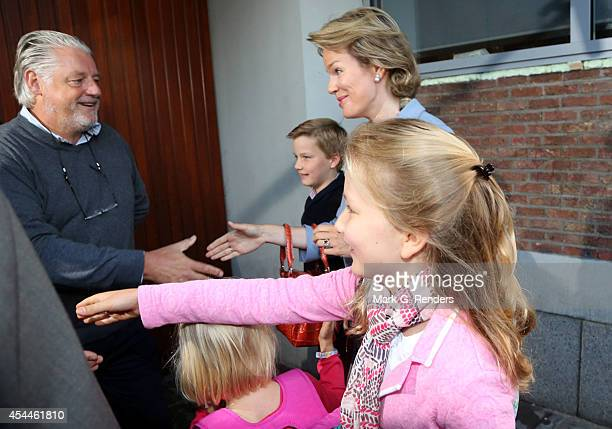 Prince Gabriel of Belgium Queen Mathilde of Belgium Princess Eleonore of Belgium and Princess Elisabeth Duchess of Brabant arrive at SintJans...