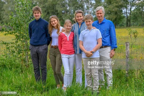 Prince Gabriel of Belgium,Princess Elisabeth of Belgium,Princess Eleonore of Belgium, Queen Mathilde of Belgium, Prince Emmanuel of Belgium and King...