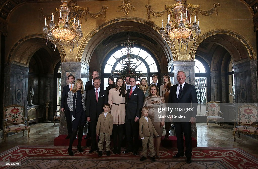 Prince Gabriel of Luxembourg, Prince Noah of Luxembourg, Mdme Lademacher, Grand Duke Henri of Luxembourg, Claire Lademacher, Prince Felix of Luxembourg, Grand Duchess Maria Teresa of Luxembourg, Mr. Lademacher, Prince Sebastien of Luxembourg, Felix Lademacher, Princess Alexandra of Luxembourg, Prince Guillaume of Luxembourg, Princess Stephanie of Luxembourg, Prince Louis of Luxembourg and Princess Tessy of Luxembourg attend a Portrait Session at Chateau De Berg on December 27, 2012 in Luxembourg, Luxembourg.