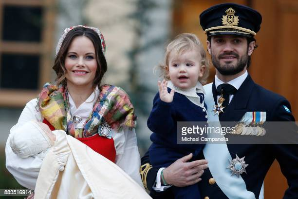 Prince Gabriel of Sweden Duke of Dalarna held by Princess Sofia of Sweden and Prince Carl Philip holding Prince Alexander Duke of Sodermanland is the...