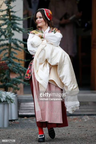 Prince Gabriel of Sweden Duke of Dalarna held by Princess Sofia of Sweden after the christening of Prince Gabriel of Sweden at Drottningholm Palace...