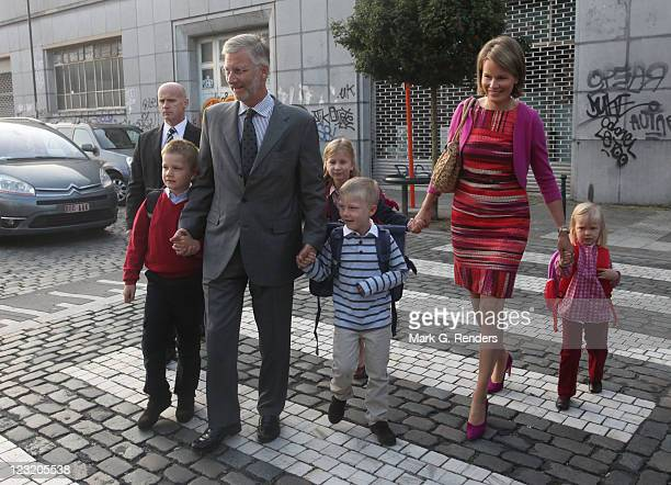 Prince Gabriel Prince Philippe Prince Emmanuel Princess Elisabeth Princess Mathilde and Princess Eleonore of Belgium arrive at Sint Jan Berghmans...