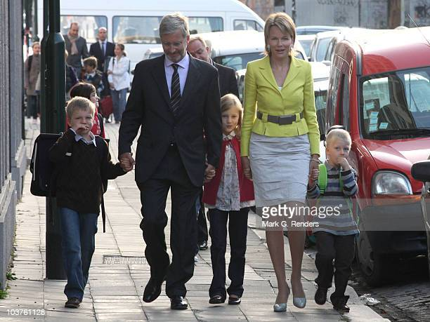 Prince Gabriel Prince Philippe Princess Elisabeth Princess Mathilde and Prince Emmanuel of Belgium walk to Sint Jan Berghmans College where the...