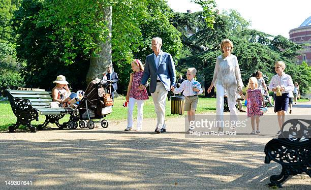 Prince Gabriel Prince Philippe Princess Elisabeth Princess Mathilde Princess Eleonore and Prince Emmanuel of Belgium pose for a photo during a visit...
