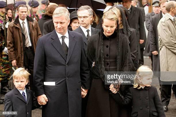 Prince Gabriel Prince Philippe Princess Mathilde and Princess Elisabeth of Belgium attend the funeral of Patrick d'Udekem d'Acoz Princess Mathilde's...