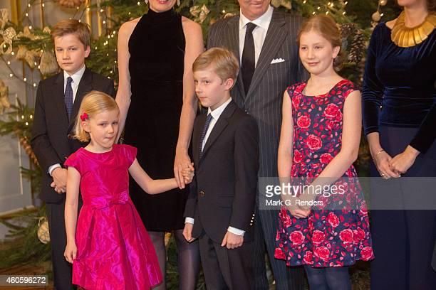 Prince Gabriel Princess Eleonore Prince Emmanuel and Princess Elisabeth of Belgium attend the Xmas Concert at the Royal Palace on December 17 2014 in...