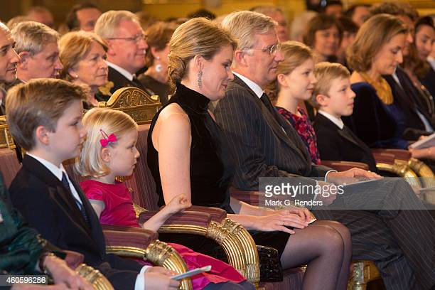 Prince Gabriel Princess Eleonore Queen Mathilde King Philippe Princess Elisabeth and Prince Emmanuel of Belgium attend the Xmas Concert at the Royal...