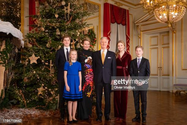 Prince Gabriel Princess Eleonore Queen Mathilde King Philippe of Belgium Princess Elisabeth and Prince Emmanuel attend the Christmas Concert at the...