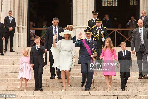 Prince Gabriel Princess Eleonore Queen Mathilde of Belgium King Philippe of Belgium Crown Princesse Elisabeth and Prince Emmanuel walk together after...