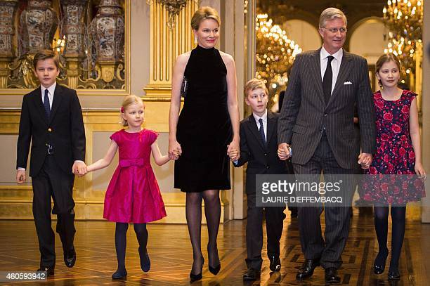 Prince Gabriel Princess Eleonore Queen Mathilde of Belgium Prince Emmanuel King Philippe of Belgium and Crown Princess Elisabeth smile as they attend...