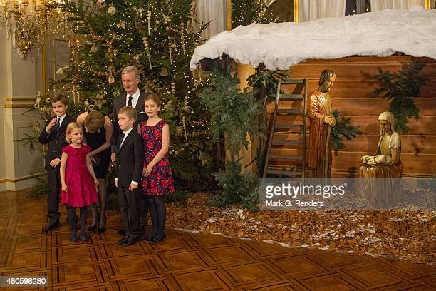 Prince Gabriel Princess Eleonore Queen Mathilde Prince Emmanuel King Philippe and Princess Elisabeth of Belgium attend the Xmas Concert at the Royal...