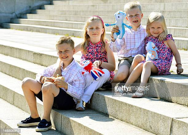 Prince Gabriel Princess Elisabeth Prince Emmanuel and Princess Eleonore of Belgium pose for a photo during a visit to central London on July 26 2012...