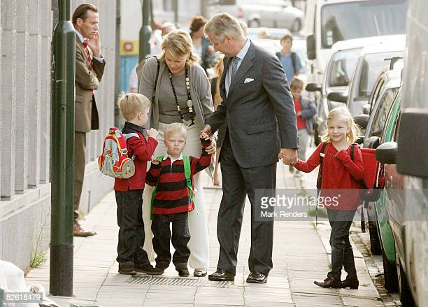 Prince Gabriel Princess Mathilde Prince Emmanuel Prince Philippe and Princess Elisabeth of Belgium arrive at Sint Jan Berchmans College to attend...