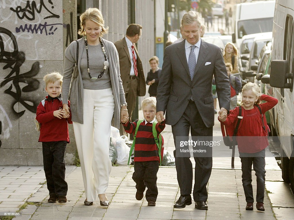 Belgian Royals Attend First Day of School : News Photo