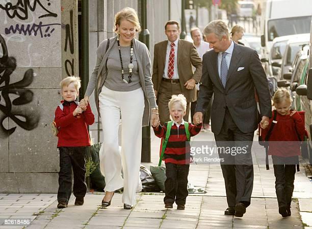 Prince Gabriel, Princess Mathilde, Prince Emmanuel, Prince Philippe and Princess Elisabeth of Belgium arrive at Sint Jan Berchmans College to attend...