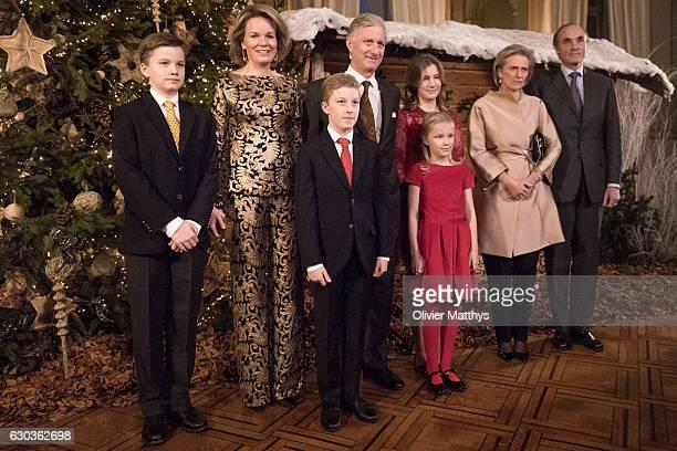 Prince Gabriel, Queen Mathilde of Belgium, Prince Emmanuel, King Philip of Belgium, Princess Eleonore, Princess Elisabeth, Princess Astrid and Prince...