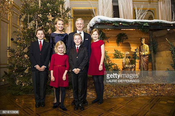 Prince Gabriel Queen Mathilde of Belgium Princess Eleonore Prince Emmanuel King Philippe Filip of Belgium and Crown Princess Elisabeth pose during...