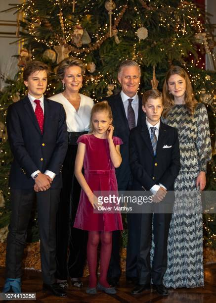 Prince Gabriel Queen Mathilde Princess ElŽonore King Philip of Belgium Prince Emmanuel and Princess Elisabeth attend the Christmas Concert on...