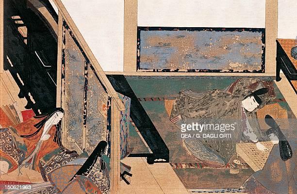 Prince Genji playing dice illustration from the emakimono of Genji Monogatari novel by the poet Murasaki Shikibu Japan Japanese Civilisation Heian...