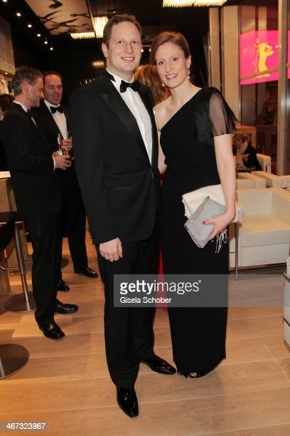 Prince Georg Friedrich Ferdinand Prussia and Princess Sophie of Prussia pose inside the AUDI Lounge at the Marlene Dietrich Platz during day 1 of the...