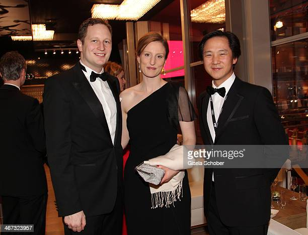 Prince Georg Friedrich Ferdinand Prussia Princess Sophie of Prussia and Clemens Lee pose inside the AUDI Lounge at the Marlene Dietrich Platz during...