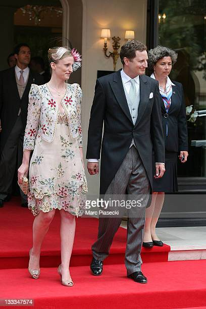 H Prince Georg Friedrich of Prussia and his fiance HSH Princess Sophie Johanna Maria of Isenburg are sighted leaving the 'Hermitage' hotel to attend...