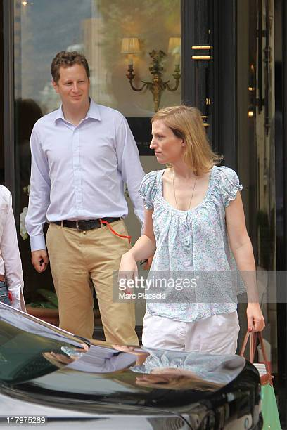 Prince Georg Friedrich of Prussia and his fiance Princess Sophie Johanna Maria of Isenburg are sighted leaving the 'Hermitage' hotel before the...