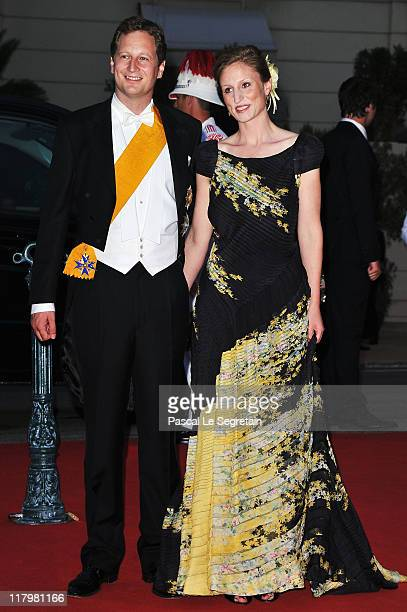Prince Georg Friedrich of Prussia and his fiance Princess Sophie Johanna Maria of Isenburg attend a dinner at Opera terraces after the religious...