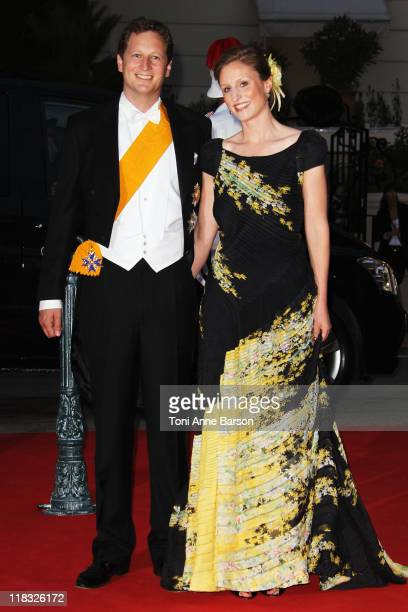 Prince Georg Friedrich of Prussia and his fiance Princess Sophie Johanna Maria of Isenburg attend the official dinner and firework celebrations at...