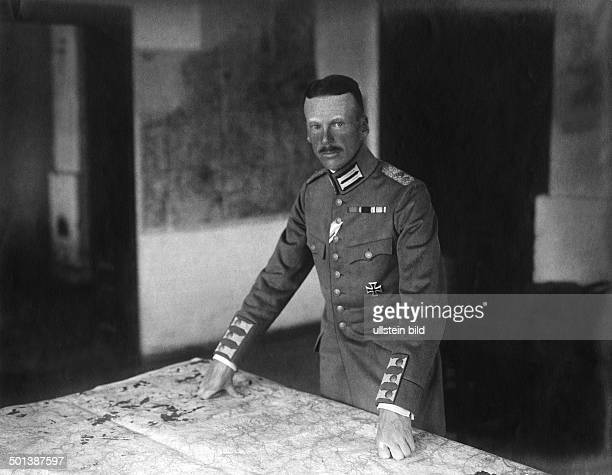 Prince Georg of Bavaria in World War I with a map before him probably on the theatre of war in Galicia Photo Kuehlewindt