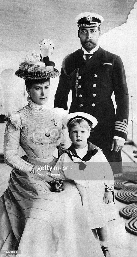 Prince George and his wife Mary with their son Edward, HMS Crescent, late 19th-early 20th century. : News Photo