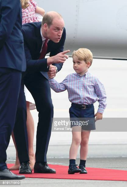 Prince George and Prince William Duke of Cambridge arrive at Warsaw airport ahead of their Royal Tour of Poland and Germany on July 17 2017 in Warsaw...
