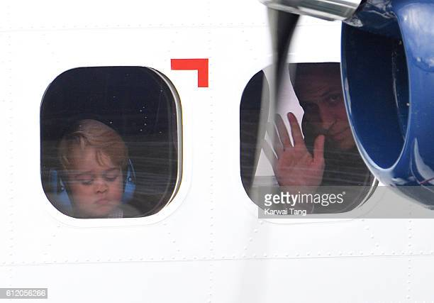 Prince George and Prince William Duke of Cambridge depart Victoria after the Royal Tour of Canada at Victoria Inner Harbour on October 1 2016 in...