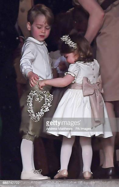 Prince George and Princess Charlotte at the wedding of the Duchess of Cambridge's sister Pippa Middleton to her millionaire groom James Matthews...